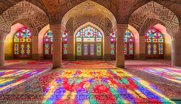 Shiraz, Iran - December 27, 2015: Nasir Al-Mulk Mosque in Shiraz, Iran, also known as Pink Mosque. Photo Credit: Shutterstock.