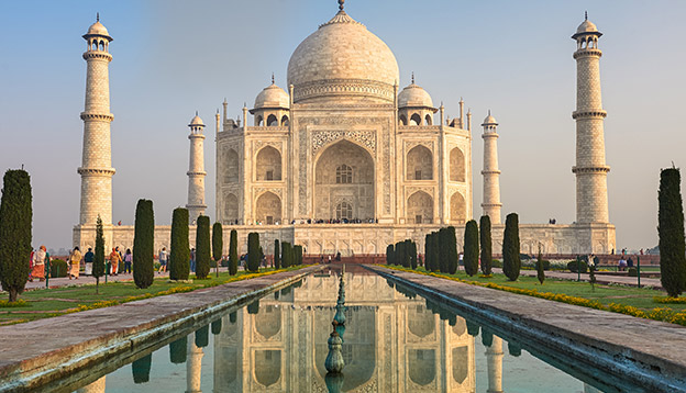 The Taj Mahal is an ivory white marble mausoleum on the south bank of the Yamuna river in the Indian city of Agra,Uttar Pradesh. Photo Credit: Shutterstock.