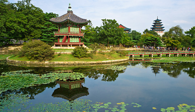 Hyangwon-jeong pavilion in Gyeongbokgung Palace, Seoul, South Korea. Photo Credit: Shutterstock.