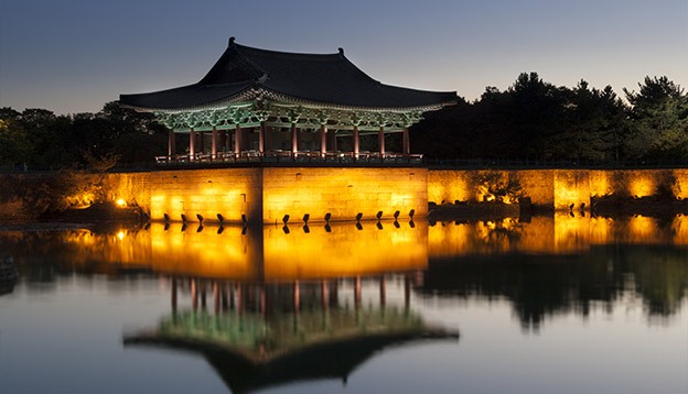Old korean palace, anapji pond, at dawn. Gyeongju, South Korea. Photo Credit: Shutterstock.