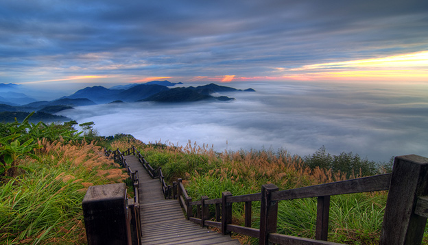 Sunset over Alishan Range, Alisan National Park, Taiwan. Photo Credit: Shutterstock