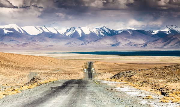 View of the Karakul lake in Pamir, Tajikistan.
