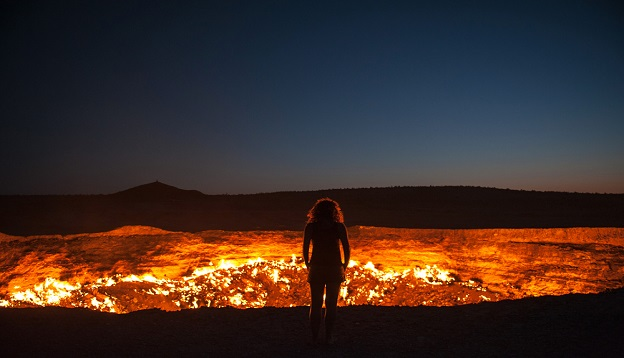 The flaming gas crater known as the Door to Hell, Turkmenistan.