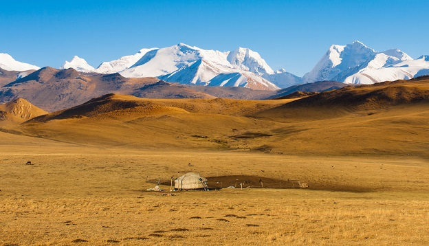 Remote Yurt in the landscape of Kazakhstan.